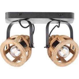 Matrix II black&natural wooden ceiling spotlight Brilliant