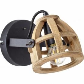Matrix black&natural wooden industrial wall lamp Brilliant