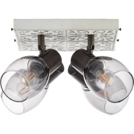 Tolosa IV cream&smoke glass rustic ceiling spotlight Brilliant