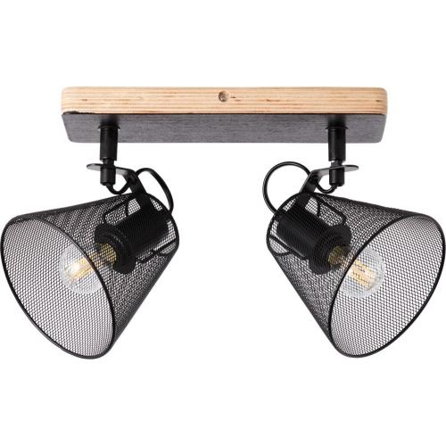 Whole II black&wood mesh ceiling spotlight Brilliant
