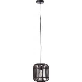 Woodrow 21 dark wood&black bamboo pendant lamp Brilliant