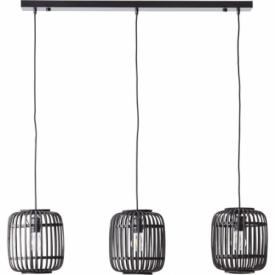 Woodrow III dark wood&black bamboo pendant lamp Brilliant