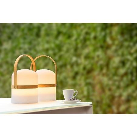 Stylowa Lampa ogrodowa stołowa Joe 14 LED Biała Lucide na taras, balkon i do ogrodu.