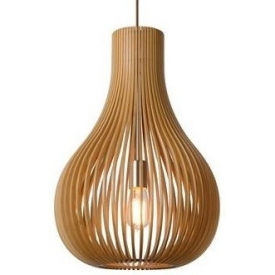 Designerska Lampa wisząca drewniana Bodo 38 Brzoza Lucide do salonu i sypialni.
