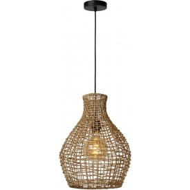 Alban 34 natural rattan pendant lamp Lucide