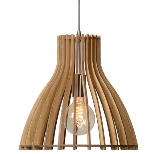 Stylowa Lampa wisząca drewniana Bounde 35 Lucide do salonu. Kolor brzoza