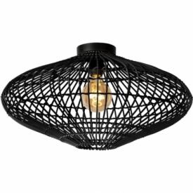 Magali 56 black rattan ceiling lamp Lucide