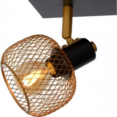 Maren II brass&black mesh ceiling spotlight Lucide