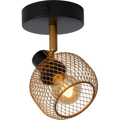 Maren brass&black mesh ceiling spotlight Lucide