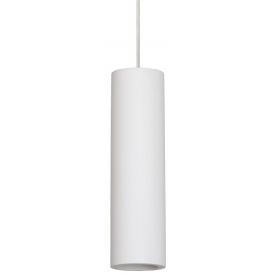 Stylowa Lampa gipsowa wisząca Gipsy Round 7 Biała Lucide nad wyspę w kuchni.