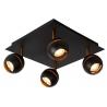 Stylowy Reflektor sufitowy Binari IV Led Lucide do salonu. Kolor czarny