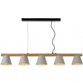 Designerska Lampa betonowa z drewnem Possio Szara Lucide do jadalni nad stół.