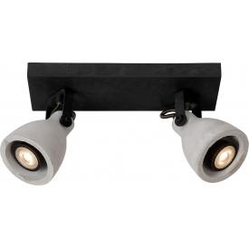 Stylowy Plafon betonowy CONCRI-LED Black II Szary Lucide do salonu i sypialni.