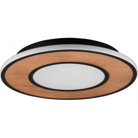 Deacon 50 LED black matt wooden loft ceiling lamp Trio