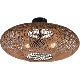 Hedda brown rattan ceiling lamp boho Trio