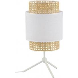 Boho white rattan bedside lamp TK Lighting