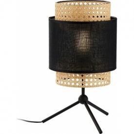 Boho black rattan bedside lamp TK Lighting