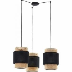 Boho black tripod rattan pendant lamp TK Lighting