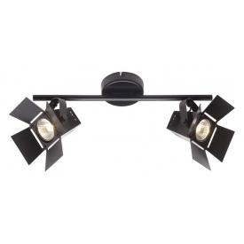 Stylowy Reflektor sufitowy podwójny industrialny Movie Black LED Czarny mat Brilliant do salonu, kuchni i przedpokoju.