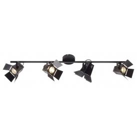 Stylowy Reflektor sufitowy industrialny Movie 4 Black LED Czarny mat Brilliant do salonu, kuchni i przedpokoju.