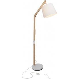 Stylowa Lampa podłogowa drewniana z abażurem Carlyn Brilliant do salonu. Kolor biały