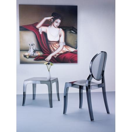 Designerski Stolik kawowy kwadratowy Queen 51 Siesta do salonu. Kolor przeźroczysty