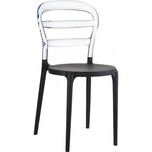 Designerskie Krzesło Miss Bibi Black z tworzywa Siesta do jadalni. Styl nowoczesny.