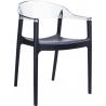 Designerskie Krzesło z podłokietnikami Carmen Armchair Black Czarny z przeźroczystym Siesta do jadalni, kuchni i salonu.