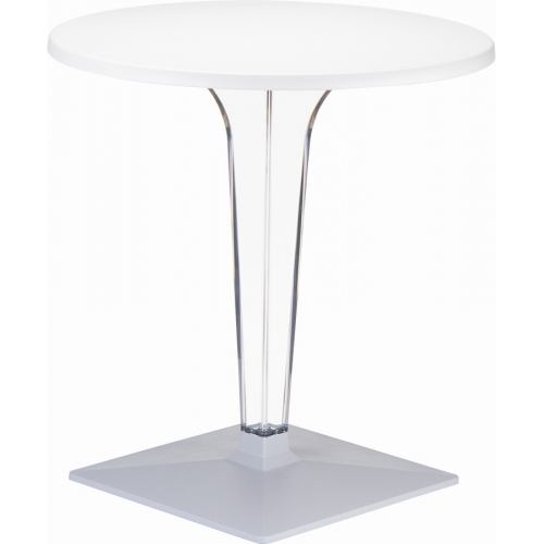 Ice 70 white one leg round dining table Siesta