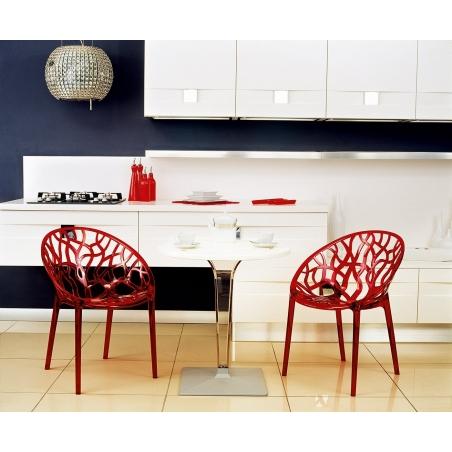 Stylowy Stół okrągły na jednej nodze Ice 70 Biały Siesta do kuchni, jadalni i salonu.
