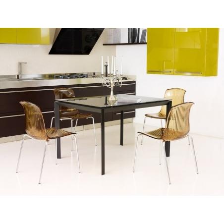 Designerskie Krzesło z tworzywa Allegra Bursztynowy przeźroczysty Siesta do jadalni, kuchni i salonu.