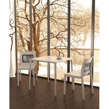 Stylowe Krzesło ogrodowe plastikowe Lucca - T Chair Białe Siesta na taras i do restuaracji.