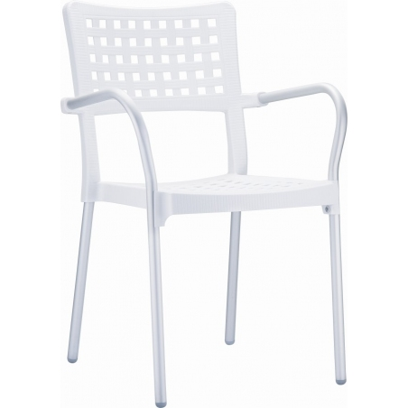 Gala white garden chair with armrests Siesta