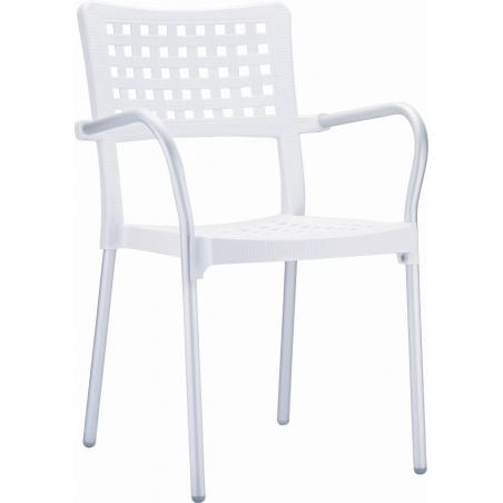 Ogrodowe Krzesło z podłokietnikami Gala Armchair Siesta. Kolor biały
