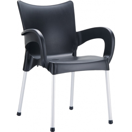 Romeo black garden chair with armrests Siesta