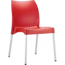 Stylowe Krzesło ogrodowe plastikowe Vita Czerwone Siesta na taras i do restuaracji.