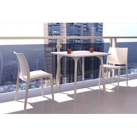 Maya 80x80 white square dining table Siesta