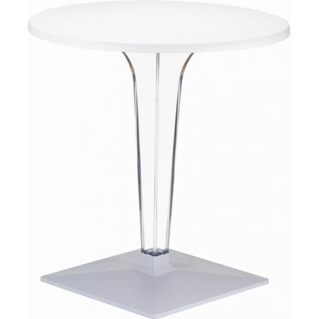 Stylowy Stół okrągły na jednej nodze Ice 60 Biały Siesta do kuchni, jadalni i salonu.