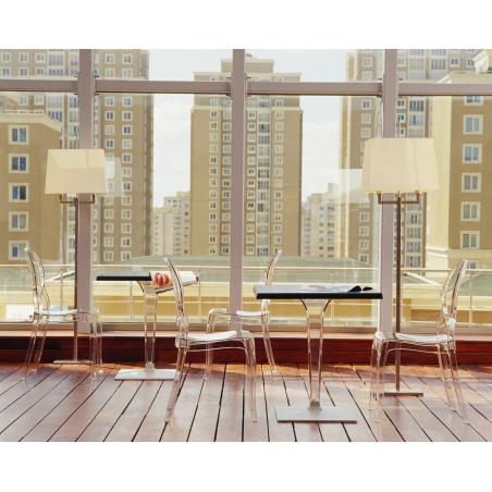 Stylowy Stół kwadratowy na jednej nodze Ice 60x60 Biały Siesta do salonu, jadalni i restauracji.