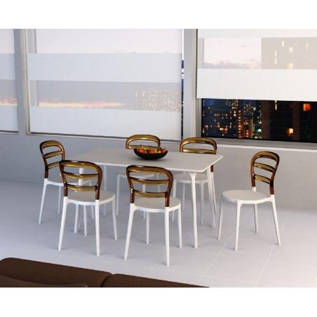 Designerskie Krzesło Miss Bibi White z tworzywa Siesta do jadalni. Styl nowoczesny.