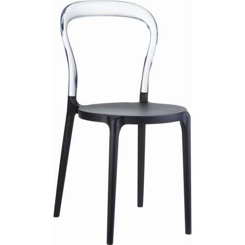 Designerskie Krzesło Bobo Black z tworzywa Siesta do jadalni. Styl nowoczesny.