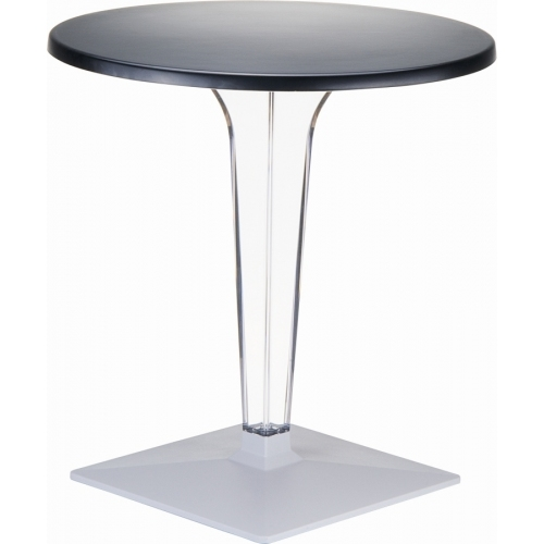 Ice 60 black one leg round dining table Siesta