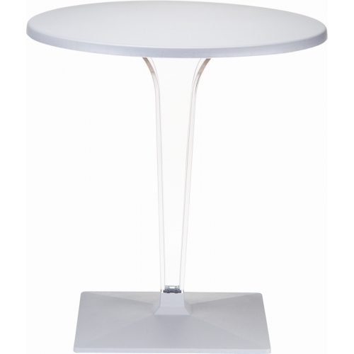 Ice 60 grey one leg round dining table Siesta