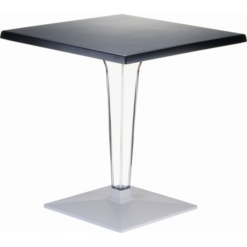 Ice 60x60 black one leg square dining table Siesta