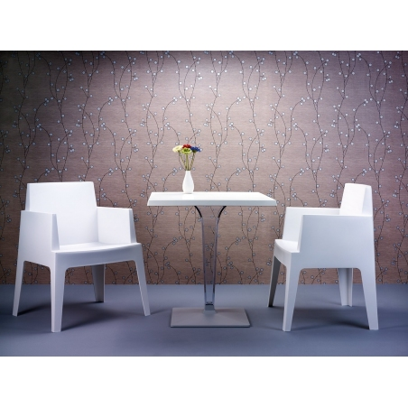 Ice 60x60 silver one leg square dining table Siesta