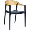 Designerskie Krzesło z podłokietnikami Carmen Armchair Black Czarny z bursztynowym przeźroczystym Siesta do jadalni, kuchni i sa