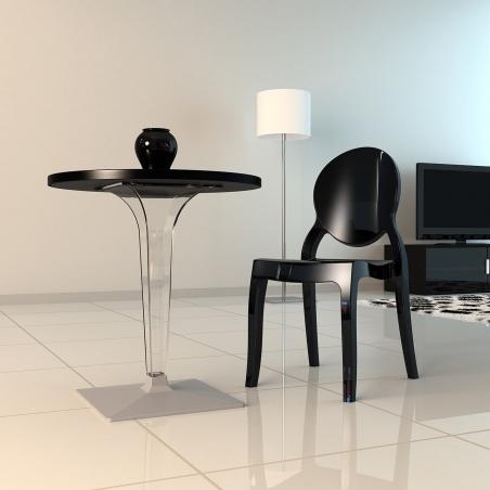 Ice 70 black one leg round dining table Siesta