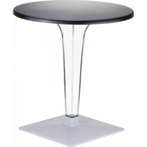 Ice 80 black one leg round dining table Siesta