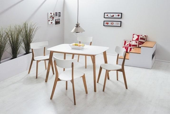 Biały stół skandynawski Mosso z drewnianą podstawą