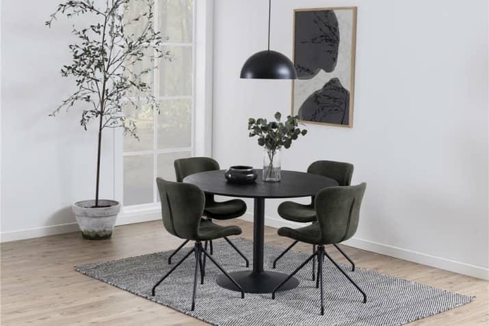 Czarny fornirowany stół okrągły Ibiza na jednej nodze.